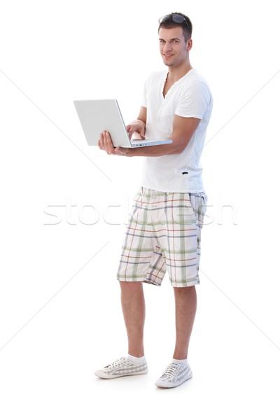 Internet laptop glimlachend computer gezicht Stockfoto © nyul