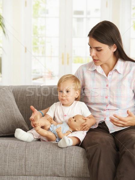 Photo stock: Fille · mère · maison · cute · séance