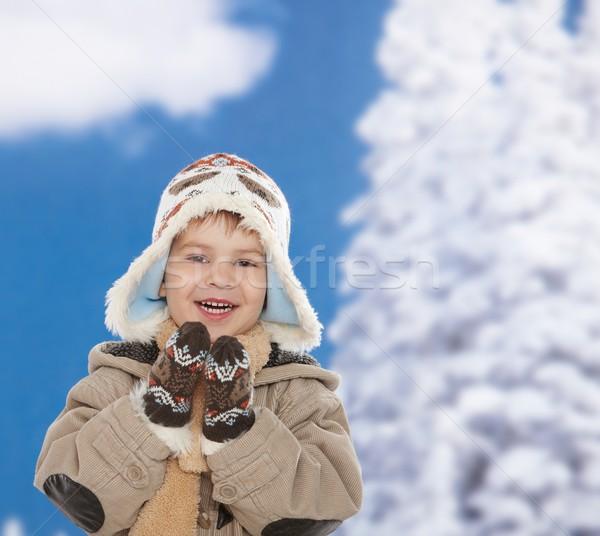 Сток-фото: счастливым · Kid · зима · портрет