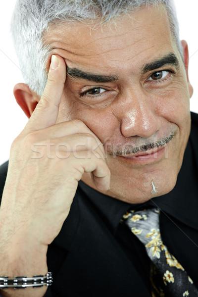 Сток-фото: портрет · зрелый · человек · мышления · улыбаясь · изолированный · белый