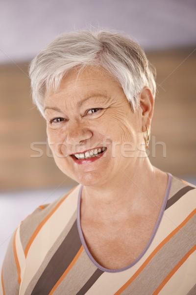 портрет счастливым старший женщину белые волосы Сток-фото © nyul