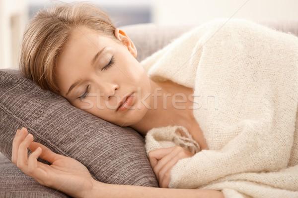 Dormir femme portrait jeune femme canapé Photo stock © nyul