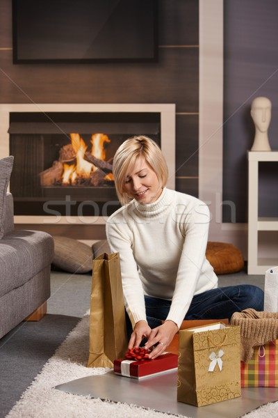 Woman wrapping presents Stock photo © nyul