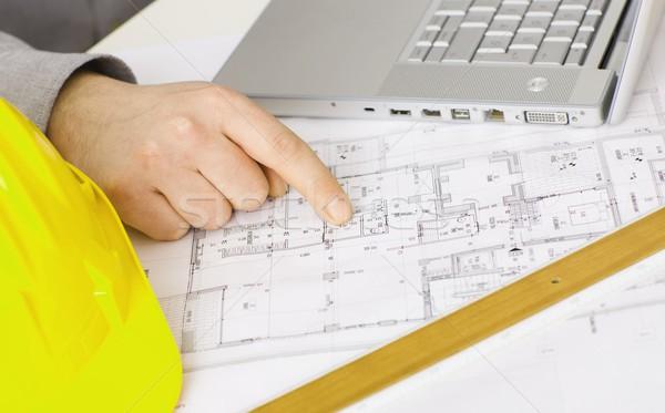 Floor plan on architect's desk Stock photo © nyul