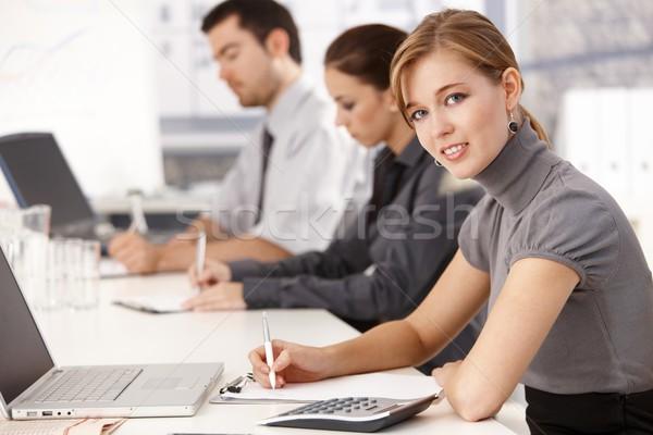 ストックフォト: 小さな · 座って · 会議 · 表 · オフィス