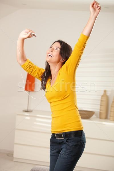 幸せな女の子 ダンス イヤホン 幸せ 十代の少女 ホーム ストックフォト © nyul