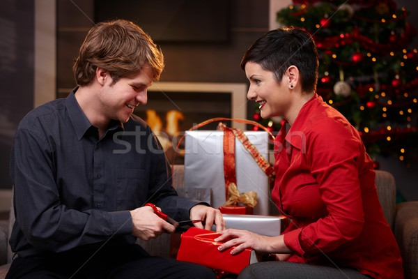 Happy couple preparing for christmas Stock photo © nyul