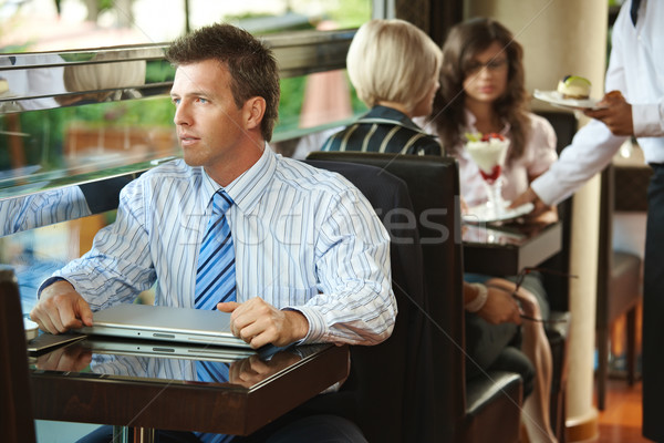 Foto stock: Empresário · sessão · café · tabela · garçom