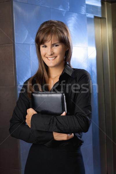 Stock fotó: Portré · üzletasszony · boldog · fiatal · tart · személyes
