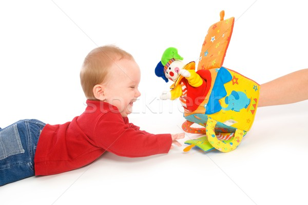 Stockfoto: Baby · jongen · spelen · speelgoed · gelukkig · maanden