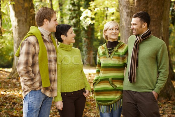 Two couples talking in autumn forest Stock photo © nyul