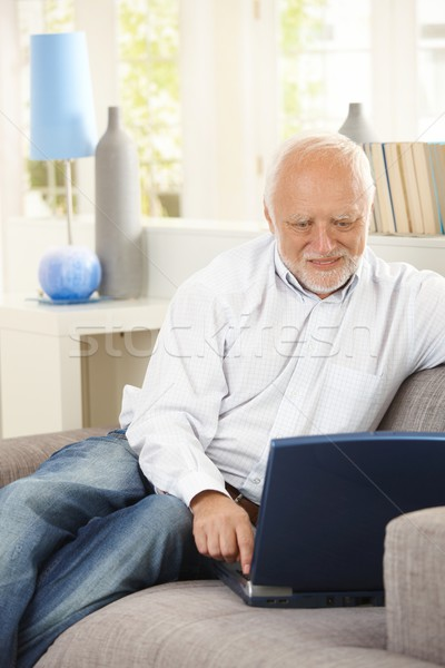 Cheerful pensioner using laptop on couch Stock photo © nyul