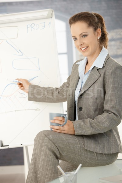 Businesswoman presenting over whiteboard Stock photo © nyul