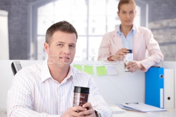 Lezser irodai dolgozók törik iroda iszik kávé Stock fotó © nyul