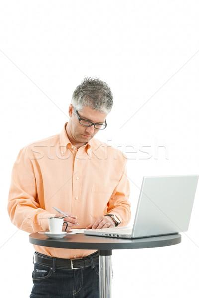 Foto stock: Homem · escrita · notas · casual · empresário
