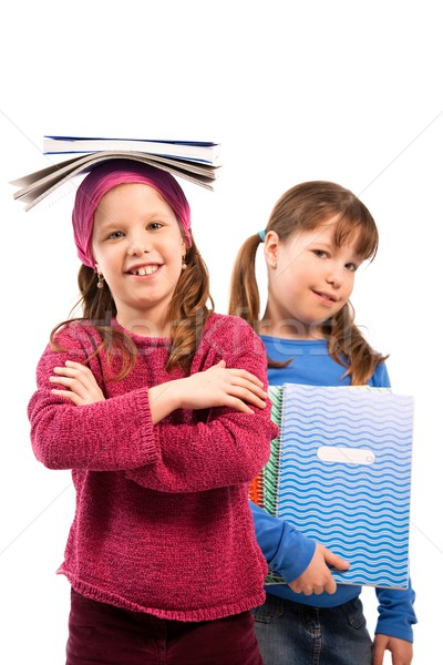 Schoolgirls with exercise books Stock photo © nyul
