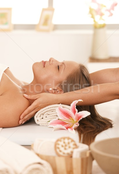 Young woman enjoying massage Stock photo © nyul
