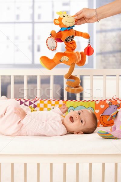 ストックフォト: 幸せ · 赤ちゃん · 笑い · ベッド · 母親