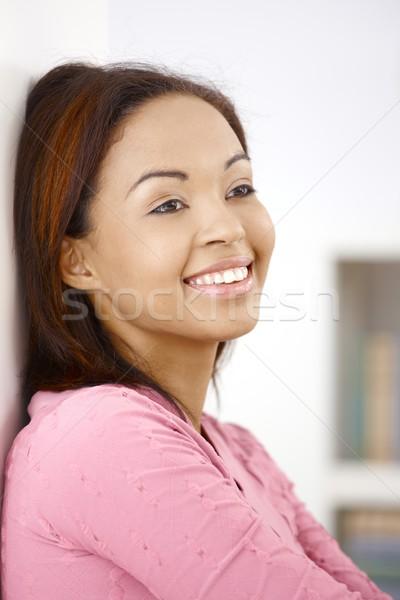 Stock fotó: Közelkép · portré · vonzó · afro · nő · mosolyog · boldogan