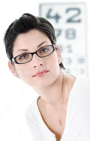 Gözlükçü güzel genç kadın moda gözlük kadın Stok fotoğraf © nyul