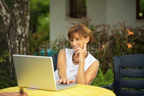 Idős nők laptop modern nő ül Stock fotó © nyul