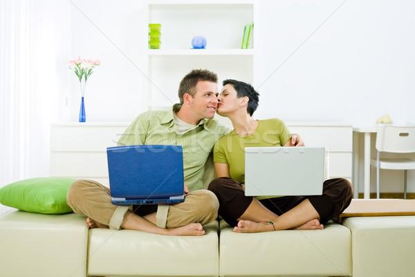 Couple working on laptop Stock photo © nyul