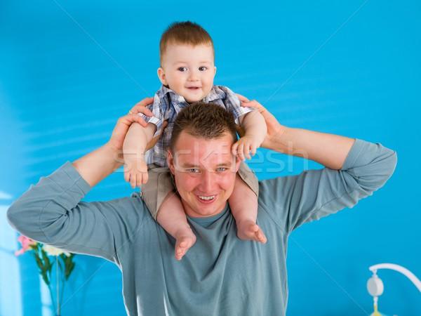 Apa emel boldog baba fiatal fiú Stock fotó © nyul