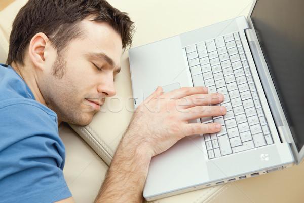 Man overslept by laptop Stock photo © nyul