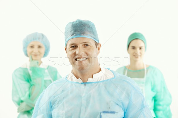 Foto stock: Médico · equipe · terno · sorridente