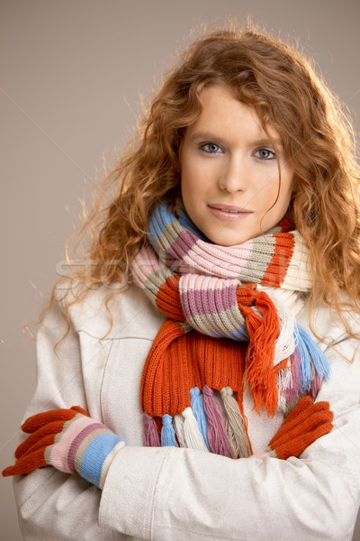 Attractive young woman dressed up for winter fun Stock photo © nyul