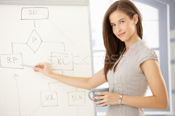 Сток-фото: деловая · женщина · Рисунок · презентация · указывая