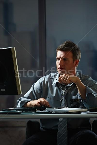 Foto d'archivio: Imprenditore · lavoro · tardi · ufficio · stanco · computer