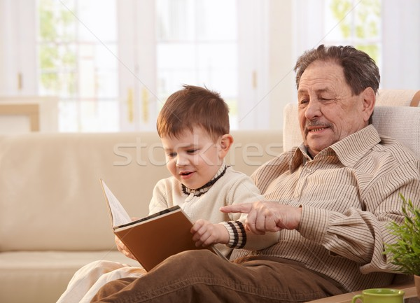 Grandfather and grandson together at home Stock photo © nyul