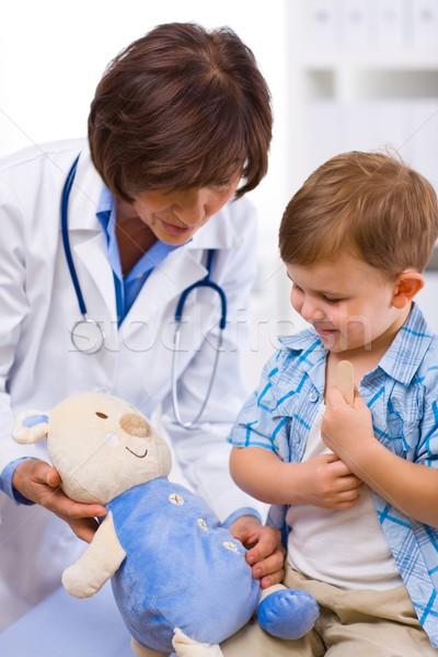Stock fotó: Orvos · megvizsgál · gyermek · idős · női · boldog