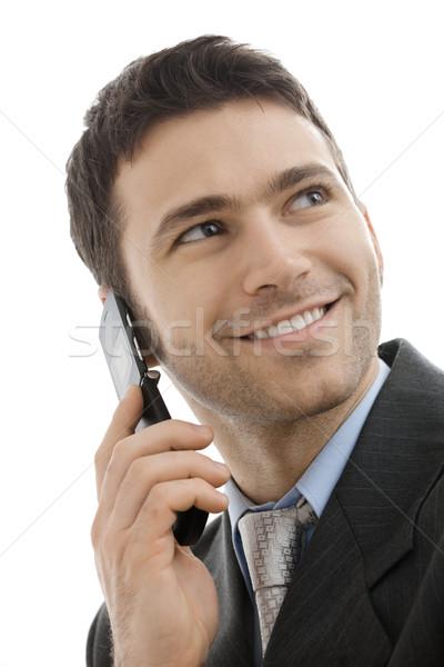 Zakenman mobiele telefoon portret toevallig praten Stockfoto © nyul