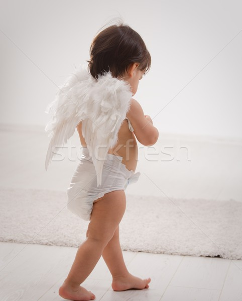 Baby girl with angel wings Stock photo © nyul