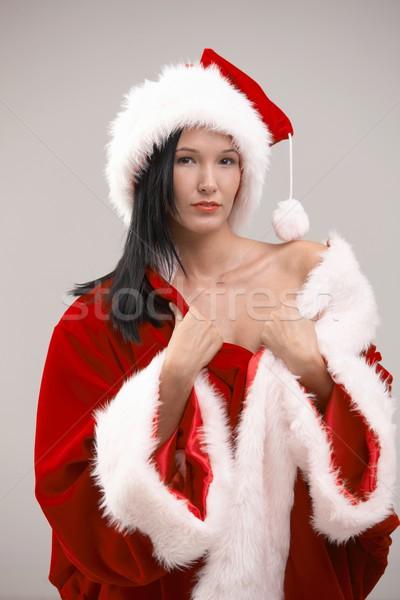 Stok fotoğraf: Seksi · genç · kadın · kostüm · noel · baba