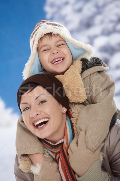 Сток-фото: матери · ребенка · зима · портрет · счастливым · вместе