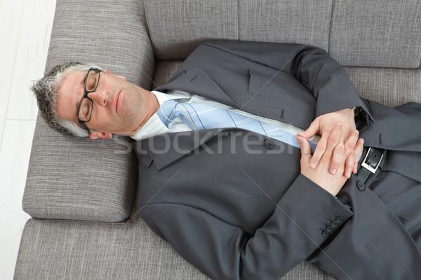 Stockfoto: Zakenman · ontspannen · moe · slapen · bank · business