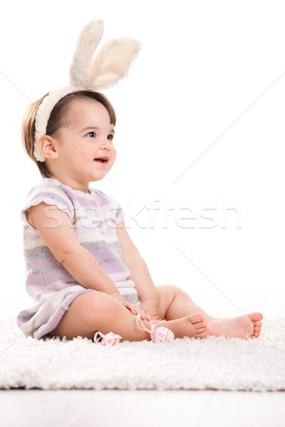 Happy baby girl in easter costume Stock photo © nyul