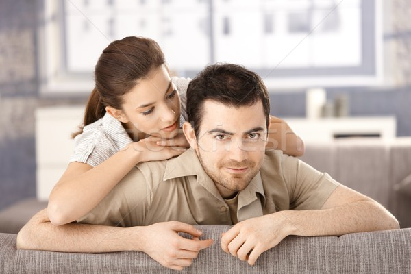 Stock foto: Glücklich · Paar · Sitzung · Sofa · andere