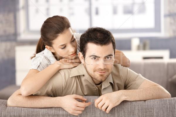 Stockfoto: Gelukkig · paar · vergadering · sofa · ander