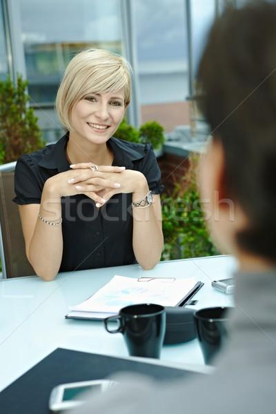 女性実業家 話し 屋外 幸せ 小さな 座って ストックフォト © nyul