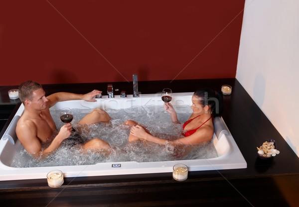 カップル ジャグジー 赤ワイン リラックス 健康 ストックフォト © nyul