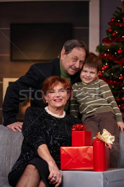 Stok fotoğraf: Küçük · erkek · dedesi · Noel · portre · mutlu