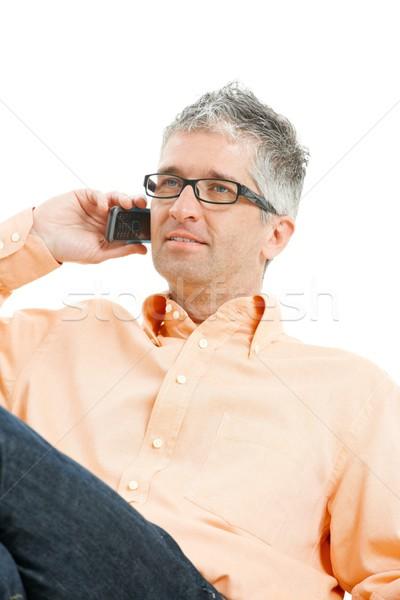 Stockfoto: Man · praten · mobiele · telefoon · toevallig · jeans