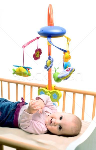 Gelukkig baby spelen bed kant Stockfoto © nyul