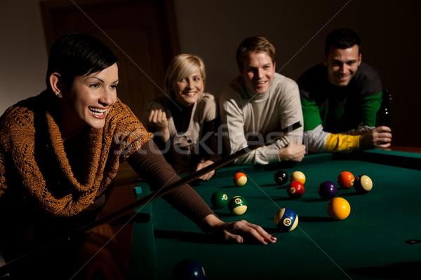 Nő nevet snooker asztal tart barátok Stock fotó © nyul