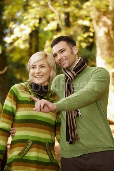 Smiling couple on autumn walk Stock photo © nyul