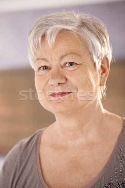 Retrato primer plano pelo blanco mirando cámara Foto stock © nyul